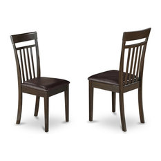 Capri Slat Back Kitchen Chair With Leather Upholstered Seat Set Of 2