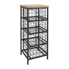 Linon Iron Cabinet With Rustic Brown Finish