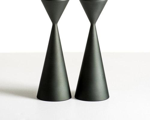 Taper Candlesticks - Aluminum Pewter - Candleholders
