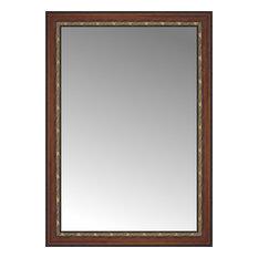 "33""x46"" Custom Framed Mirror, Ornate Brown"