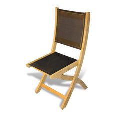 Teak Providence Chair, Batyline Black, Set of 2