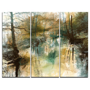 """""""River and Trees Oil Painting"""" Painting Wall Art, 3 Panels, 36""""x28"""""""