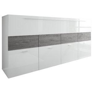 Cube Sideboard, White and Grey Oak