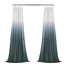 Ombre Faux Linen Semi Sheer Single Panel Curtain, Aqua, 50W x 108L