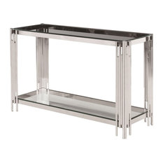 Sagebrook Home 2-Tier Silver And Glass Console Table 13746-03