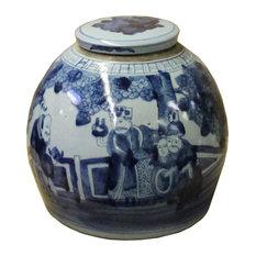 Chinese Oriental Blue & White Flat Round Ginger Jar Hcs4805