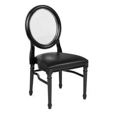 HERCULES 900 Lb. Capacity King Louis Chair-Transparent BackBlack Seat And Frame