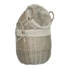 Antique Wash Lined Linen Laundry Baskets, Set of 2