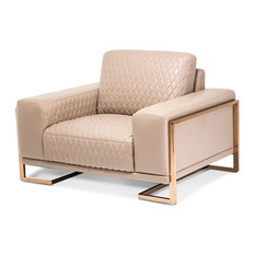 Mia Bella Peach Rosegold Leather Chair and Half