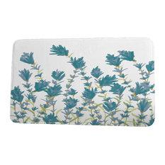 "Botanical Blooms Lavender Floral Print Bath Mat, Teal, 24""x36"""