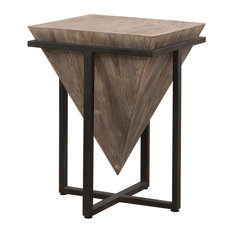 Modern Rustic Industrial Pyramid End Table Geometric Iron Wood Block Accent