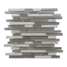 "12""x12"" Parallel Mosaic Mix Tiles, Set of 11, Beige"