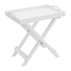 Lavish Home Folding End Table With Removable Tray Top, White