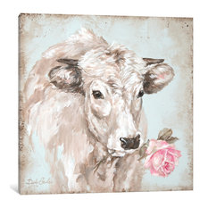 """""""Cow With Rose II"""" by Debi Coules, Canvas Print, 18""""x18"""""""