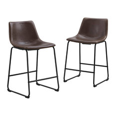 "Walker Edison - 26"" Industrial Faux Leather Counter Stools, Brown - Bar Stools and Counter Stools"