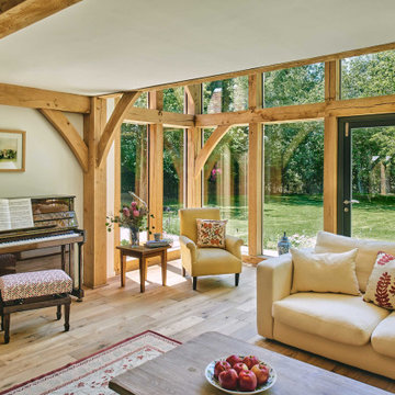 An oak frame family home and room above garage in Warwickshire