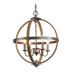 4-Light Globle Farmhouse Chandeliers, Faux Wood, Brushed Silver Finish