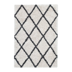 Franklin Silky Shag Area Rug With Diamond Pattern, Ivory and Gray, 8'x10'