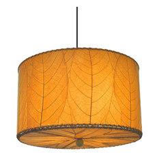 Eangee Home Design Fossilized Cocoa Leaves Orange Drum Pendant Lamp