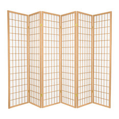 6' Tall Window Pane Shoji Screen, Natural, 6 Panels
