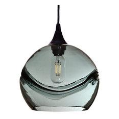 Swell Pendant Form No. 768, Gray Glass Shade, Black Hardware, 8 Watt