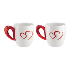 Guzzini Set of 2 Love Design Mugs With Red Heart Handles