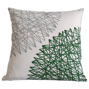 Green and Grey Geometric Cushion, 40x40 cm