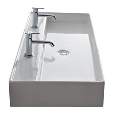 Rectangular White Ceramic Wall Mounted or Vessel Sink, Two Hole