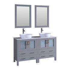 "60"" Double Vanity With White Carrara Top Gray"