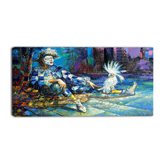 """""""The Harlequin and White Parrot"""" Contemporary Canvas Print, 40""""x20"""""""