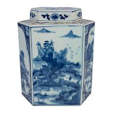 "Blue and White Hexagonal Landscape Porcelain Tea Jar, 12.5"""