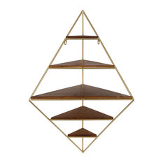Melora Metal and Wood Corner Wall Shelf, Gold 5 Shelves