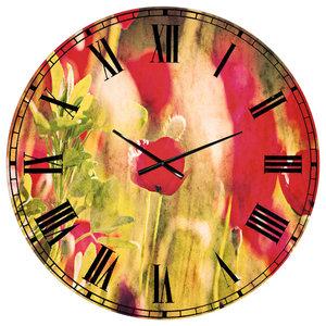 Pink Sakura On Blurred Background Floral Round Metal Wall Clock Asian Wall Clocks By Design Art Usa
