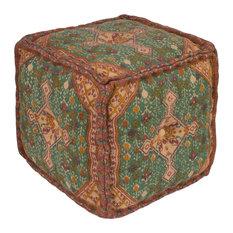 Shadi Cube Pouf, Neutral, Orange