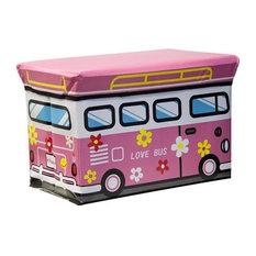 Kids Folding Ottoman Storage Seat Toy Box, Love Bus, Large