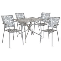 """Metal Patio Dining Set, Antique Silver Finish SF-12-TC-GG, 35.25"""""""