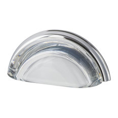 """Cup Pull Crystal Clear 3"""" on Center in Bright Chrome"""