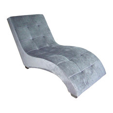 """52"""" Long Wooden Modern Chaise Lounge Chair, Grey Faux Suede"""