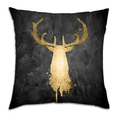 """Oliver Gal """"Stag Majesty Gold"""" Pillow, 18""""x18"""""""