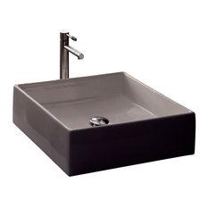 Square White Ceramic Vessel Sink, No Hole