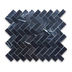 "12""x12"" Nero Marquina Herringbone Mosaic Tile Polished"