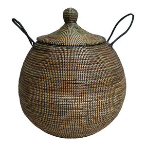 Doum Basket With Black Interweaving, Large