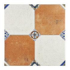 "13.13""x13.13"" Huerta Jet Ceramic Floor/Wall Tiles, Set of 9, Mix"