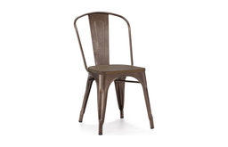 Dreux Elm Wood Side Chairs, Set of 4, Rustic Matte