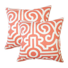 Jael Geometric Throw Pillows, Set of 2, Watermelon