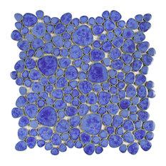 """SomerTile Pebble 11"""" x 11"""" Porcelain Mosaic Tile, Blue Cloud"""