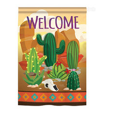 Breeze Decor - Southwest Cactus 2-Sided Vertical Impression House Flag - Flags and Flagpoles