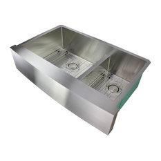 "Transolid Diamond 36""x22"" Double Bowl Farmhouse Kitchen Sink, Stainless"