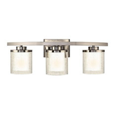 dolan designs modern bathroom light with clear seedy and white glass shades