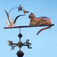 cat weathervane with hummingbird - Weather Vanes